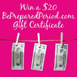 $20 BePreparedPeriod.com Gift Certificate