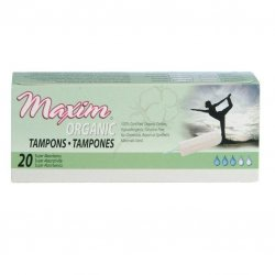 Maxim Organic Cotton Non Applicator Tampon, Super Plus