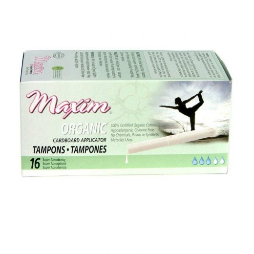 Maxim Organic Cotton Applicator Tampon, Super