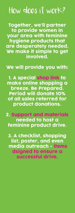 feminine care donations
